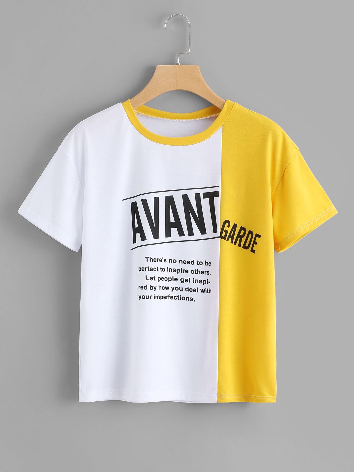 5057585d38af Slogan Print Color Block Tee EmmaCloth-Women Fast Fashion Online