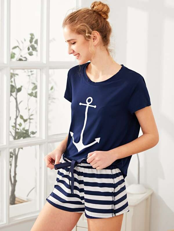 53e8159fd2 Anchor Print Tee And Striped Shorts Pajama Set | SHEIN