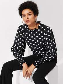 Frill Trim Polka Dot Top