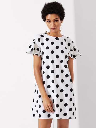 Ruffle Sleeve Polka Dot Dress