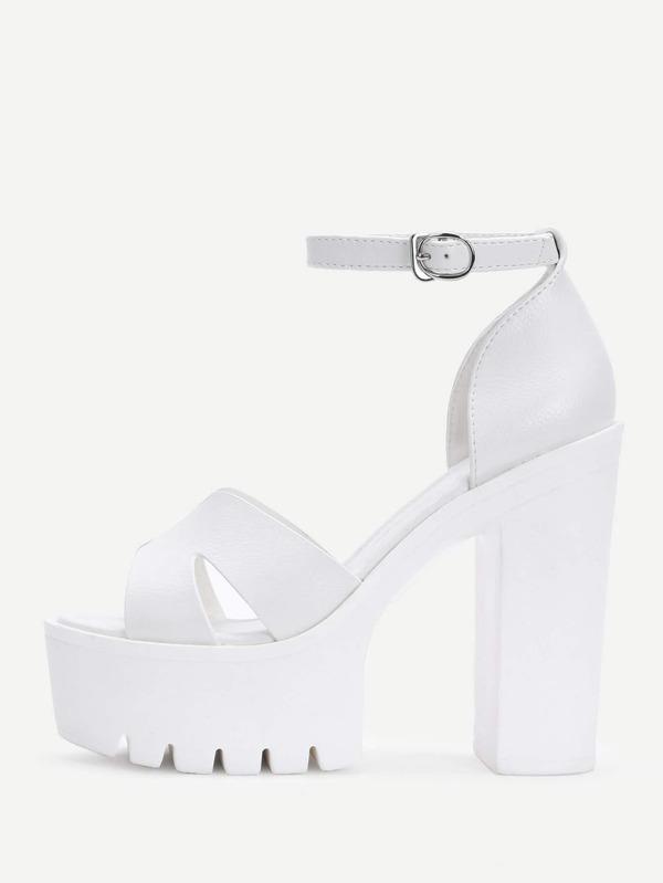 80218971b38 Ankle Strap Block Heeled PU Sandals