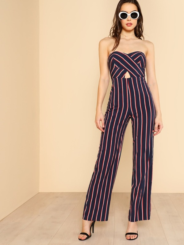 dcf051d9f52 Strapless Sweetheart Keyhold Striped Jumpsuit NAVY MULTI -SheIn(Sheinside)