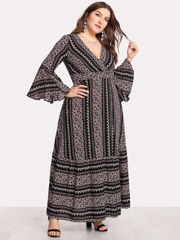 Plus Flounce Sleeve Ditsy Floral Print Wrap Dress
