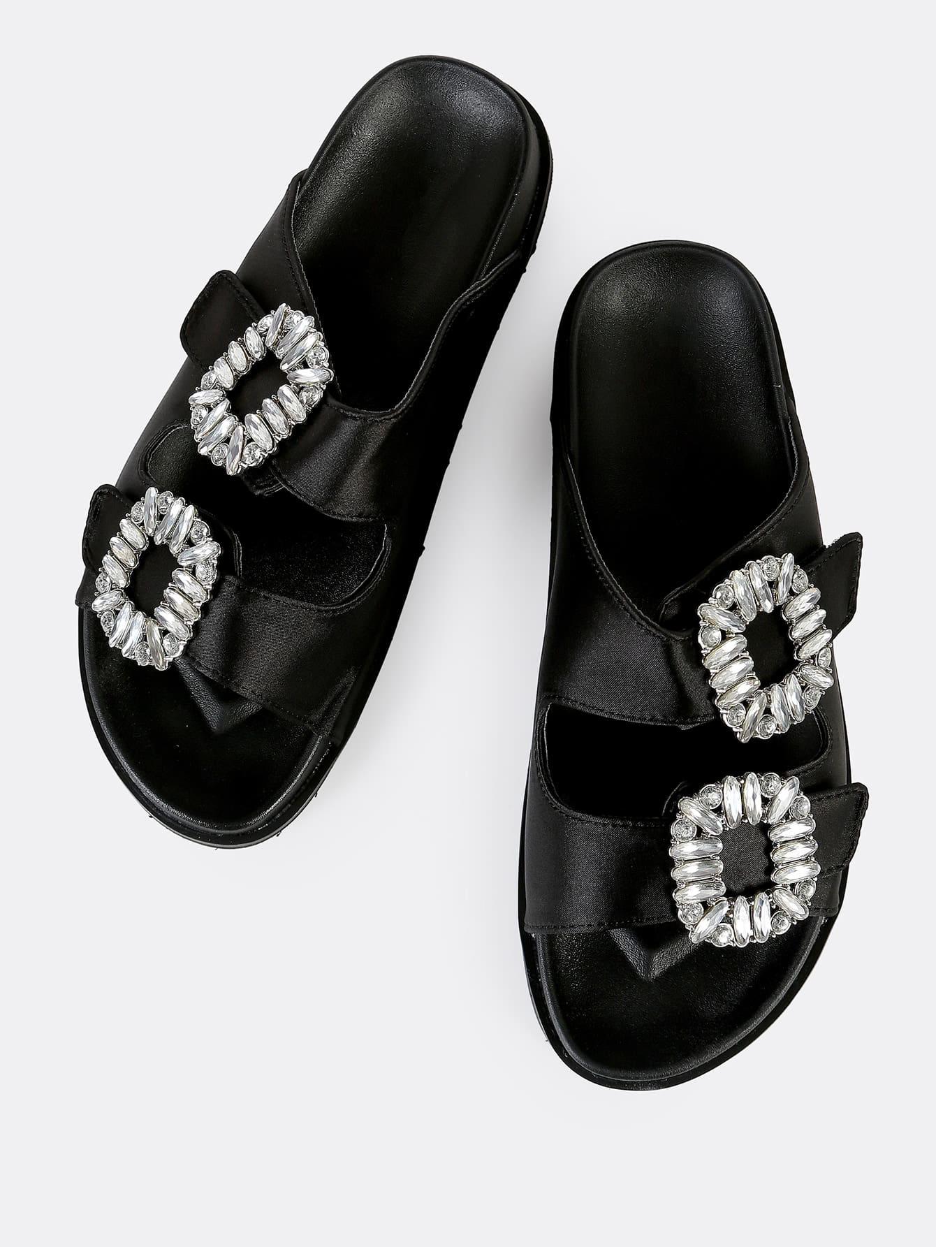 Two Strap Jewel Buckle Sandals BLACK
