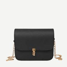 PU Flap Crossbody Bag With Chain