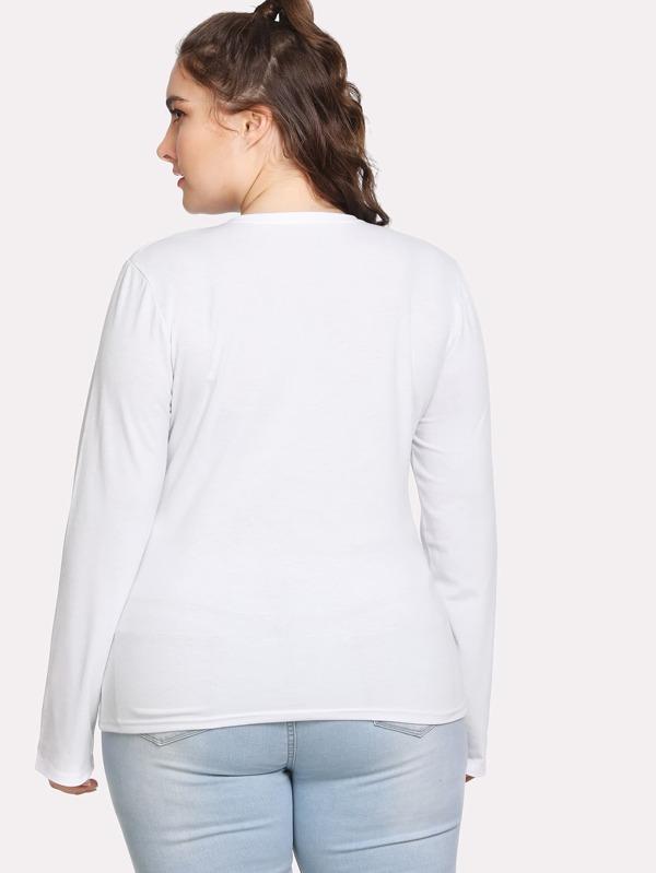 81745afe0be43 Camiseta con cuello pico y bolsillo con lentejuela -Spanish SheIn(Sheinside)