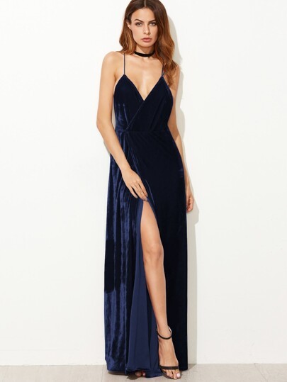6aa0004b Strappy Back Split Wrap Velvet Cami Dress
