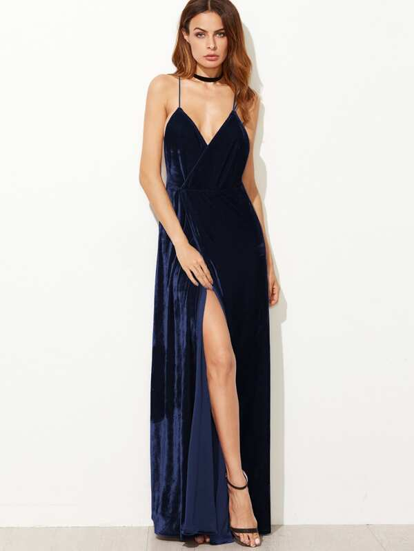425aeb3e7a Strappy Back Split Wrap Velvet Cami Dress | SHEIN UK