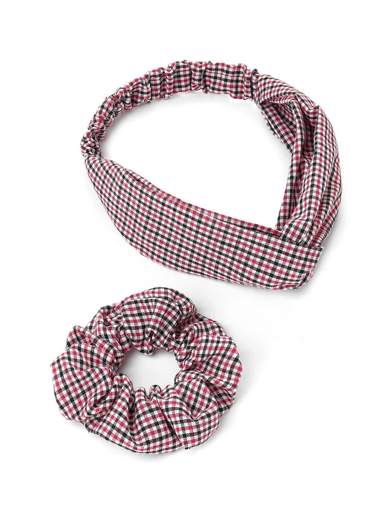 Gingham Print Headband   Hair Tie 2pcs -SheIn(Sheinside) 3c9838d79c7