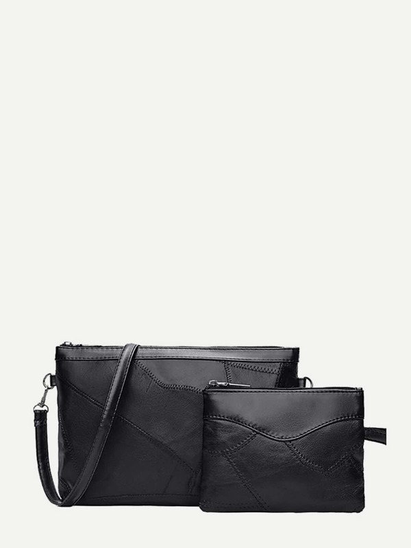Detalle de costura Clutch Bag 2pcs-Spanish SheIn(Sheinside)
