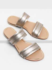 Chain Detail Duo Strap Sandals