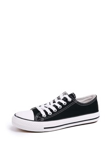 Lace Up Low Top Canvas Shoes