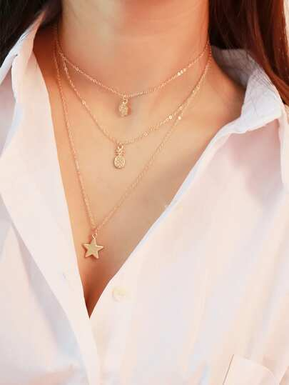 Multi Charm Layered Choker Necklace