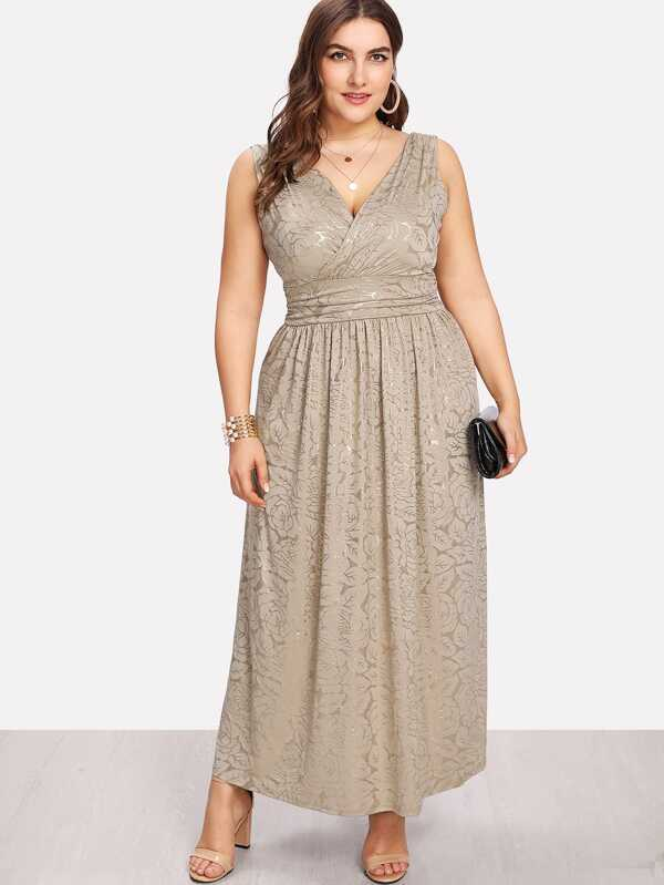 d9c9f36b24 Cheap Plus Fit & Flare Surplice Wrap Dress for sale Australia | SHEIN