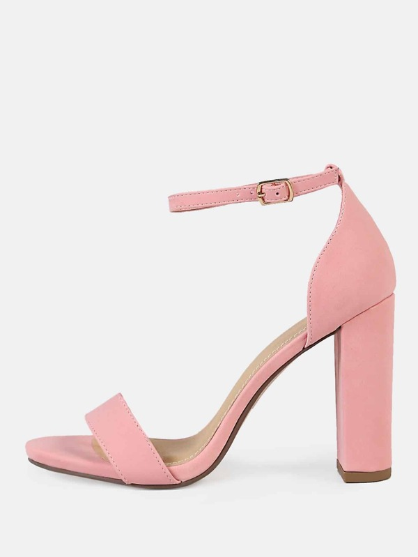 6cc3e08b1bc2b Open Toe One Band Ankle Strap Chunky Heels PINK