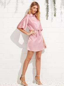 9062e237c3 Front Knot Satin Shirt Dress -SheIn(Sheinside)
