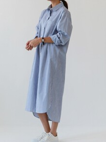 Pinstripe Half Button Stepped Hem Shirt Dress