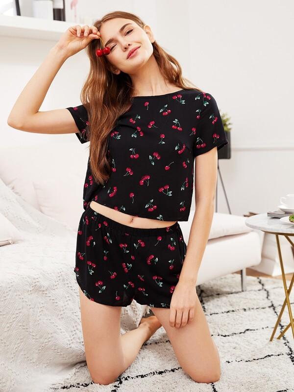 5f9594a910 Cheap Cherry Print Top And Shorts Pajama Set for sale Australia | SHEIN