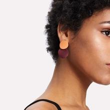 Two Tone Round Flake Drop Earrings