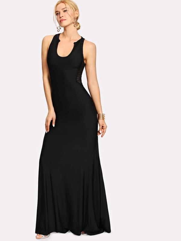 Mesh Back Fishtail Dress -SheIn(Sheinside)