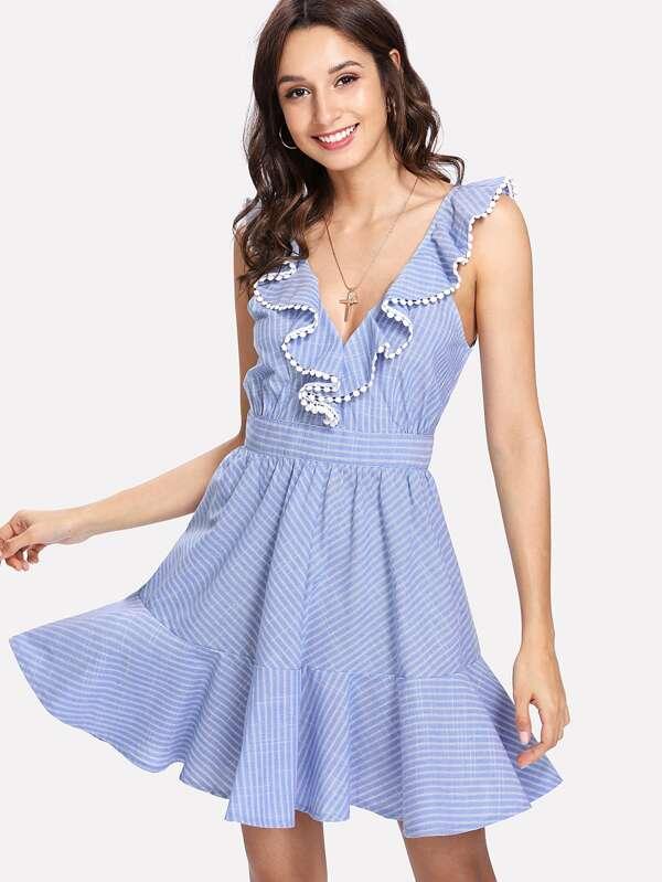 7a2ed7aff7 Crochet Pompom Trim Flounce Embellished Striped Dress | SHEIN IN