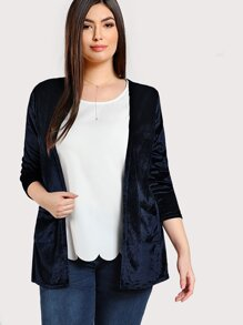 Plus Patch Pocket Front Velvet Coat