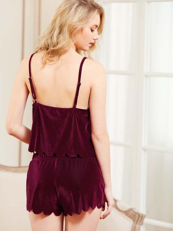 bd492b0a87ec Scalloped Trim Velvet Cami Top   Shorts Pajama Set