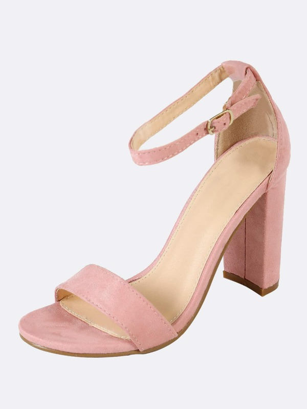 3ace1cf5df5d Single Band Open Toe Faux Suede Block Heel with Thin Ankle Strap MAUVE