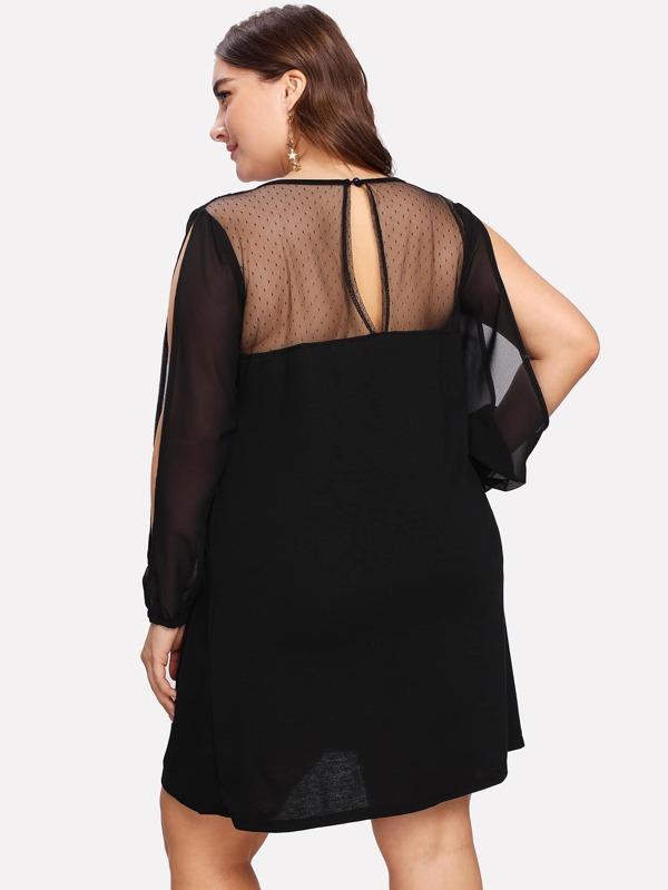 720c639159 Plus Mesh Insert Split Sleeve Dress | SHEIN IN