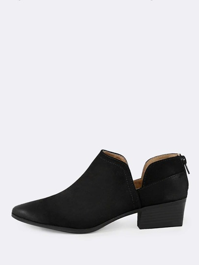 Oil Finished Double Slit Shaft Ankle Boots BLACK