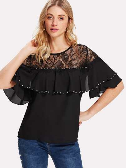 Floral Lace Shoulder Layered Flounce Top