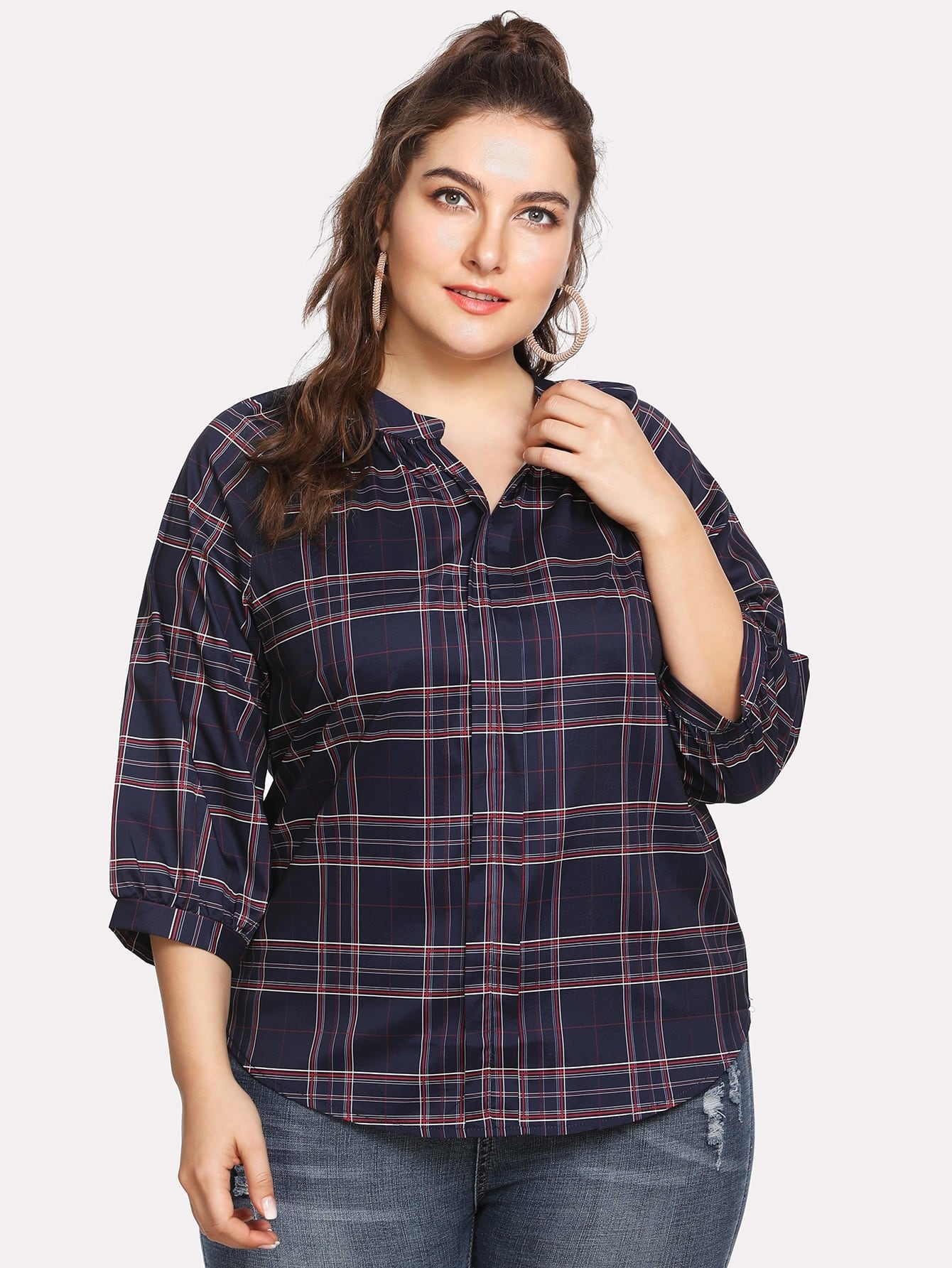 grande taille blouse manche raglan en tartan carreaux french shein sheinside. Black Bedroom Furniture Sets. Home Design Ideas