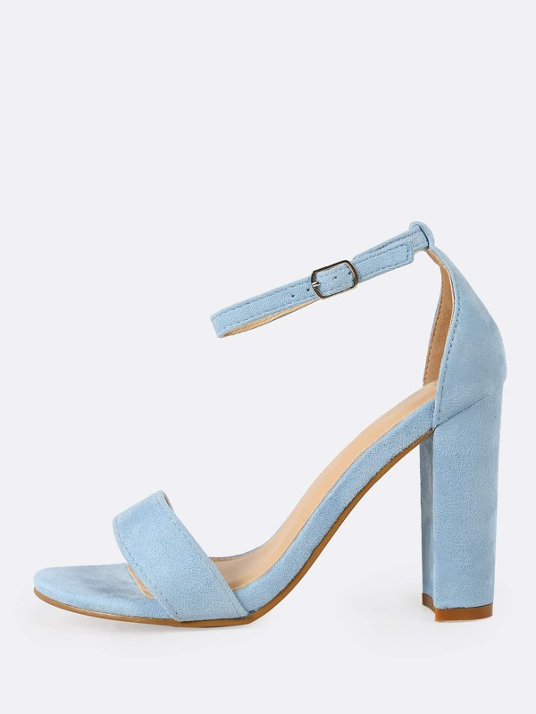 a84d506593 Single Band Open Toe Faux Suede Block Heel with Thin Ankle Strap BABY BLUE - SheIn(Sheinside)
