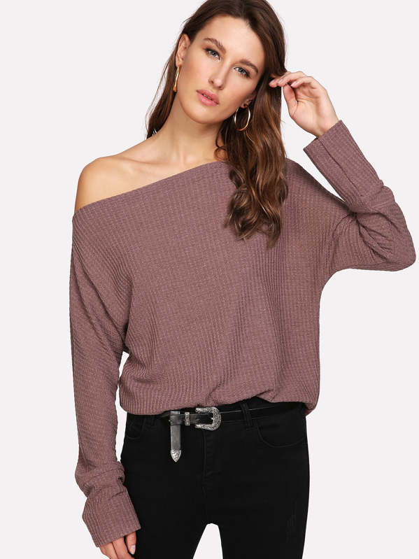 Oblique Shoulder Dolman Sleeve Jumper, Brown, Lera
