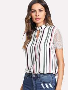 V Notch Front Contrast Lace Sleeve Striped Top