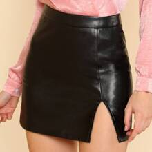 - Split Front Faux Leather Skirt