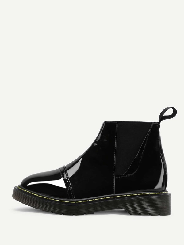5c12a372719e8 Round Toe Patent Leather Ankle Boots | SHEIN UK