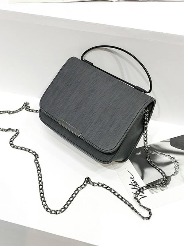 a7d0bc4b9c7d Faux Leather Chain Flap Bag -SheIn(Sheinside)