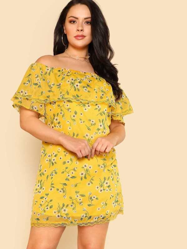 Plus Floral Print Off Shoulder Dress with Lace Hem YELLOW | SHEIN