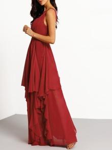 4a27cd06969b5 Plunging Ruffle Layered Maxi Chiffon Dress | SHEIN