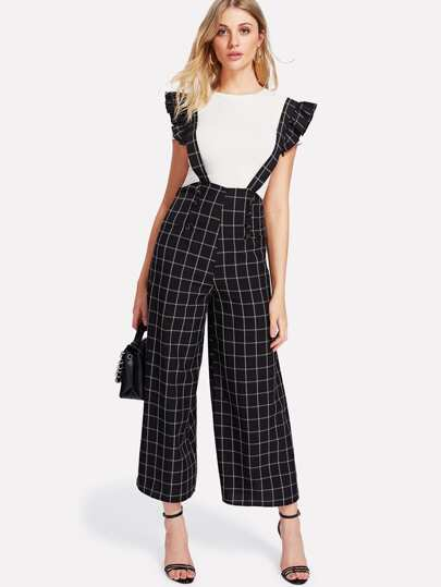 Double Breasted Palazzo Pants With Ruffle Strap