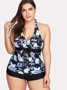 Flower Print Knot Two Piece Swimwear