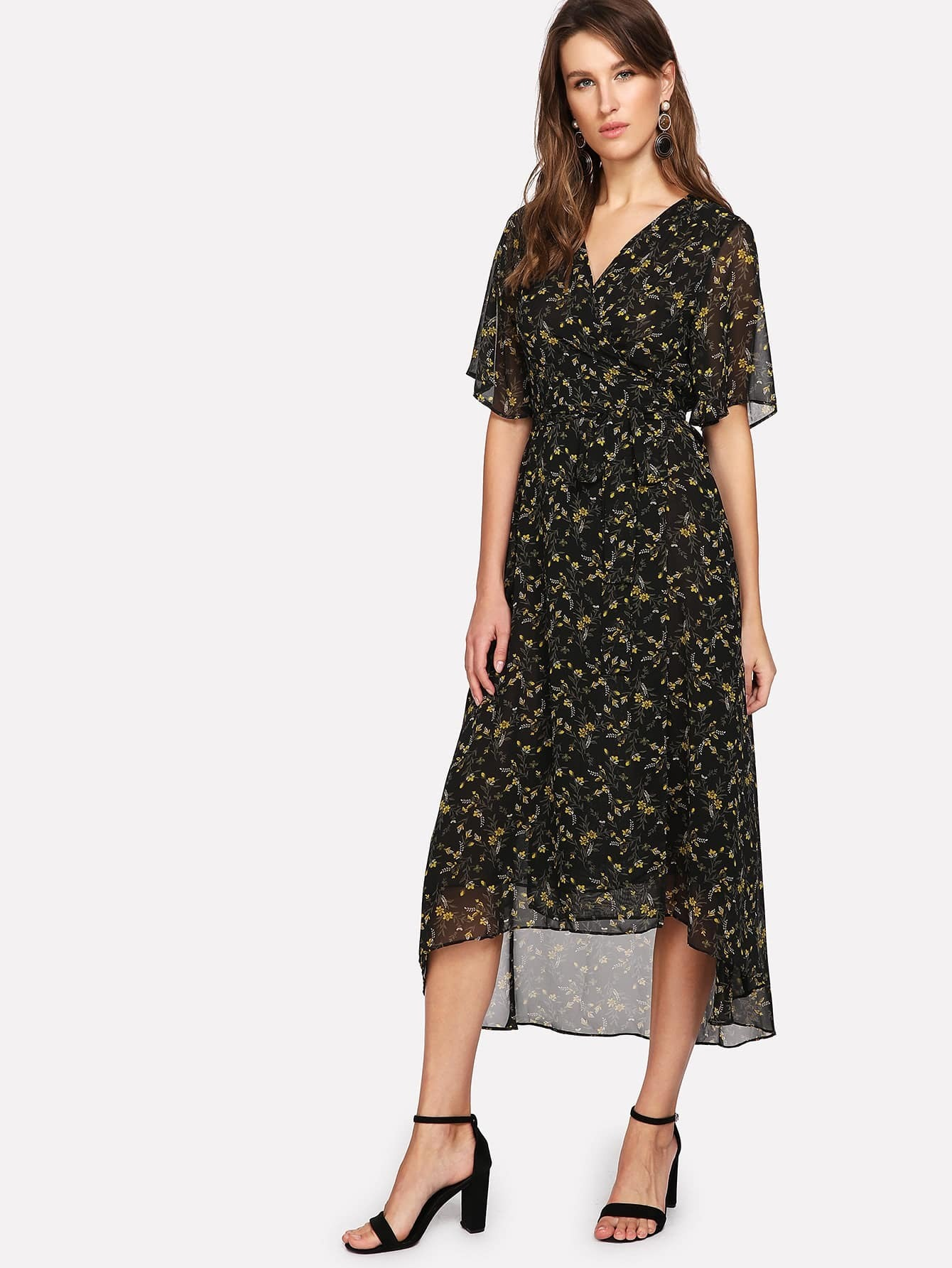 V Neck Dip Hem Floral Dress