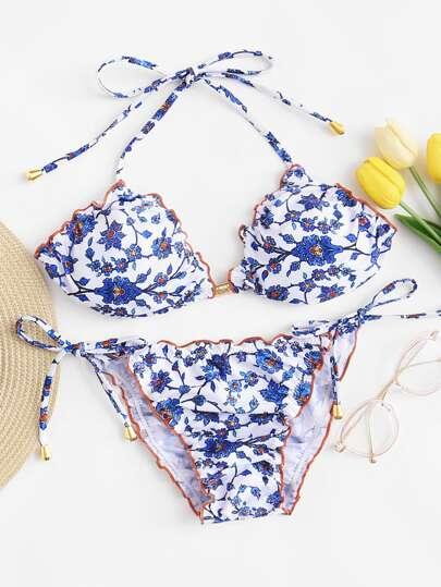 b5575a114f Frill Trim Floral Top With Side Bow Tie Bikini Set