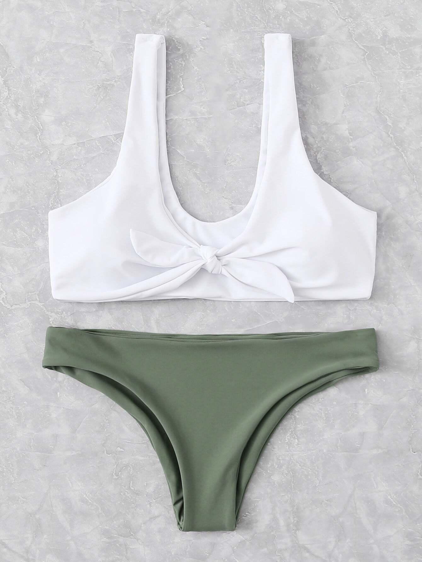 e681b5cd0c5dfa Bow Tie Scoop Neck Top With Hipster Bikini Set EmmaCloth-Women Fast ...