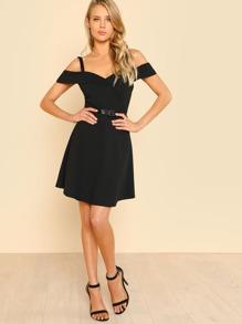 088460a2157 Fold Over Cold Shoulder Belted Dress. AddThis Sharing Buttons