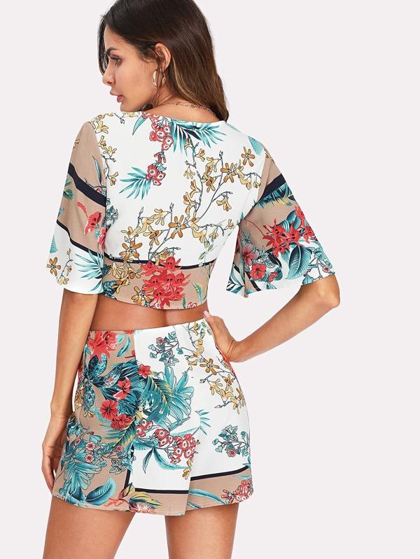 1713c0e6fb Lace Up Crop Tropical Top & Shorts Set | SHEIN UK