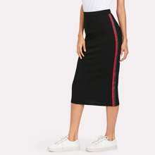 SHEIN | Striped Tape Side Skirt | Goxip