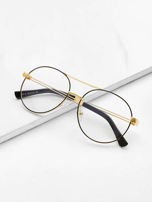 Gafas de marco delgado con doble puente -Spanish SheIn(Sheinside)