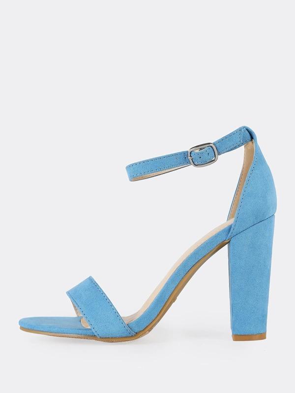 f6d6e81b4606 Single Band Ankle Strap Chunky Heels LIGHT BLUE